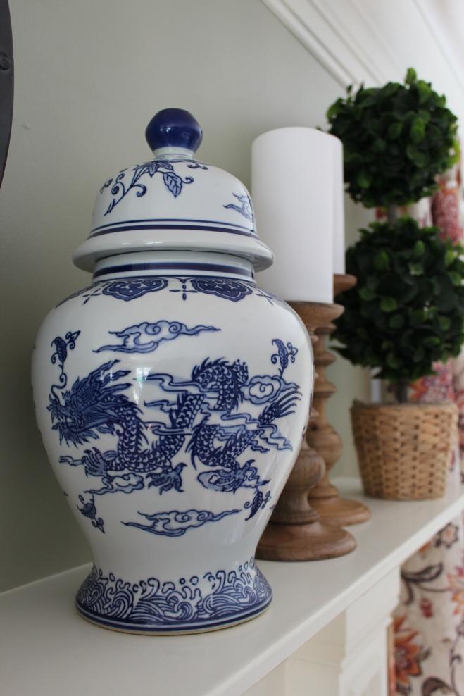 Blue & white ginger vase